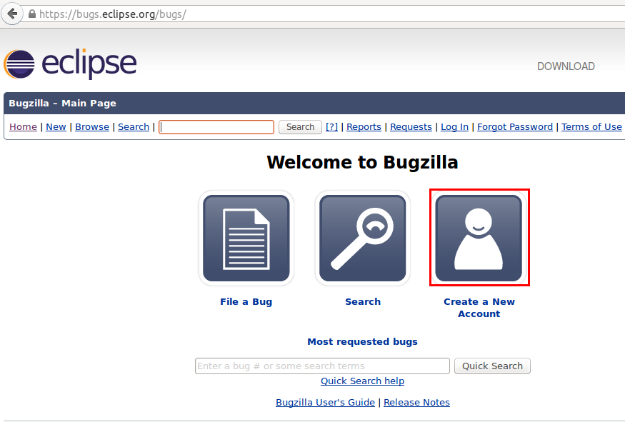 Opening a account at Eclipse bugzilla