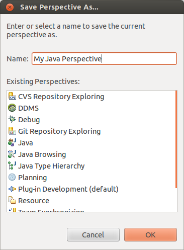 Save your perspective configuration