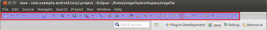 Java Perspective toolbar