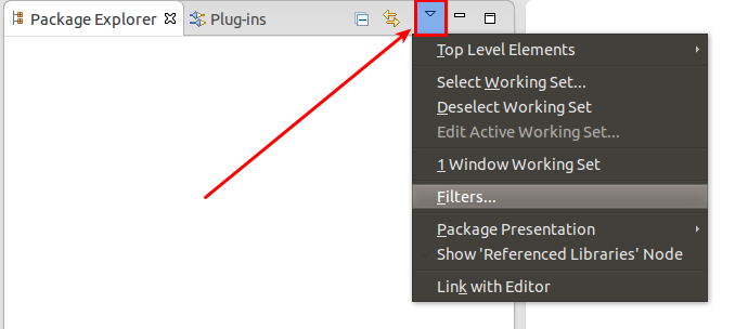 Filter in the package explorer