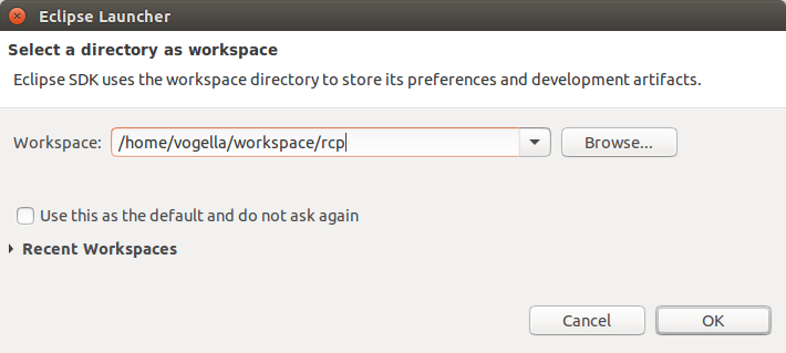 Selecting the Workspace